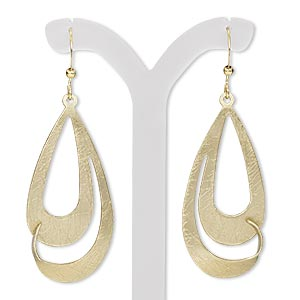 earring, gold-finished steel and brass, 2-1/4 inches with fancy teardrop and cutout design with fishhook earwire. sold per pair.