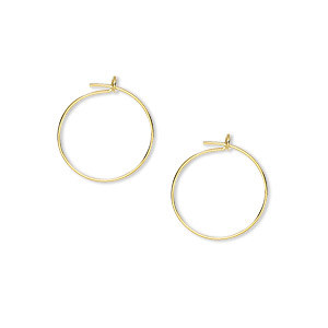 earring, gold-plated brass, 12mm round hoop. sold per pkg of 50 pairs.