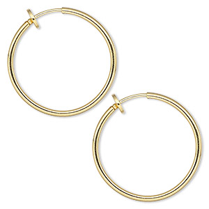earring, gold-plated brass, 25mm round hoop with pierced-look spring closure. sold per pair.