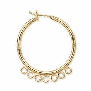 earring, gold-plated brass, 29mm round hoop with 7 closed loops and latch-back closure. sold per pkg of 5 pairs.