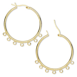 earring, gold-plated brass, 32mm round hoop with 7 closed loops and latch-back closure. sold per pkg of 5 pairs.