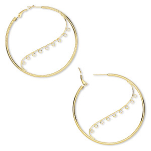 earring, gold-plated steel, 50mm round hoop with 9 closed loops and hinged closure. sold per pkg of 5 pairs.