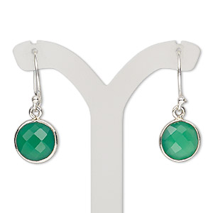 earring, green onyx (dyed) and sterling silver, 28-30mm with round and fishhook earwire, 21 gauge. sold per pair.