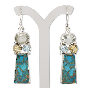 earring, green quartz / citrine (heated) / sky blue topaz (irradiated) / magnesite (dyed / stabilized) / sterling silver, blue, 2-1/2 inches with fishhook earwire, 21 gauge. sold per pair.
