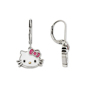 earring, hello kitty, enamel and sterling silver, multicolored, 28mm with hello kitty face and leverback earwire. sold per pair.