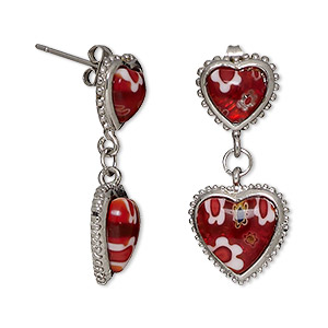 earring, millefiori glass and stainless steel, red and white, 30mm with heart and post. sold per pair.