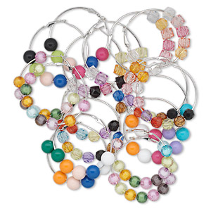 earring mix, acrylic and imitation rhodium-finished steel, multicolored, 50mm round hoop with hinged closure. sold per pkg of 12 pairs.