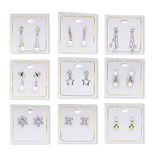 earring mix, alloy, glass and czech rhinestone, mixed styles. sold per pkg of 12 pairs.