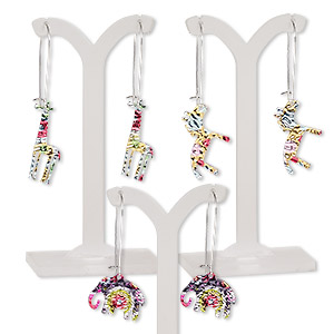 earring mix, color film with imitation rhodium-plated steel and pewter (zinc-based alloy), multicolored, 2 to 2-1/2 inches with elephant / giraffe / horse and kidney earwire. sold per pkg of 3 pairs.