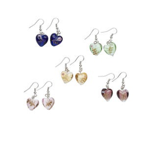earring mix, lampworked glass and silver-plated brass, multicolored, 15x15mm heart. sold per pkg of 5 pairs.