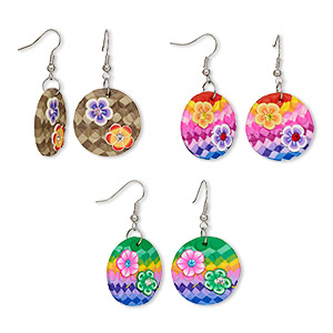 earring mix, polymer clay / glass rhinestone / silver-plated steel, multicolored, 47mm with round and flower design with fishhook earwire. sold per pkg of 3 pairs.