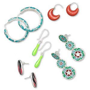 earring mix, sterling silver and enamel, mixed styles. sold per pkg of 5 pairs.