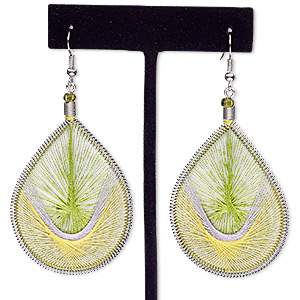 earring, nylon / glass / silver-finished steel, lime green / yellow / silver, 3 inches with teardrop and fishhook earwire. sold per pair.