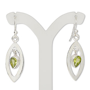 earring, peridot (natural) and sterling silver, 40mm with open marquise and fishhook earwire, 21 gauge. sold per pair.