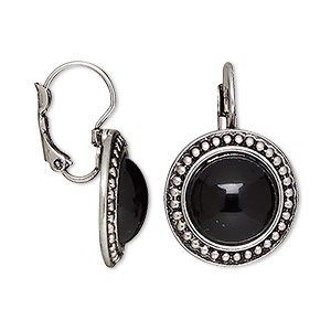 earring, resin with antique silver-plated brass and pewter (zinc-based alloy), black, 27.5mm with round and leverback earwire. sold per pair.
