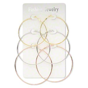 earring, silver- / copper-plated / gold-finished steel, 59-81mm round hoop with hinged closure. sold per pkg of 3 pairs.