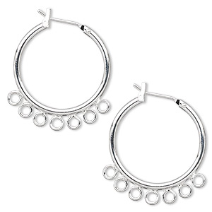 earring, silver-plated brass, 23mm round hoop with 7 closed loops and latch-back closure. sold per pkg of 5 pairs.