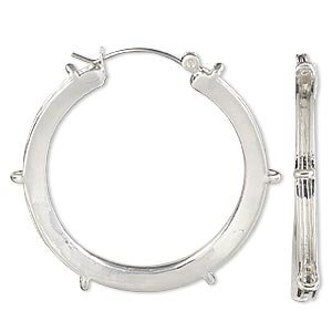 earring, silver-plated brass, 40mm round hoop with 2mm channel and 6 closed loops with latch-back closure. sold per pair.