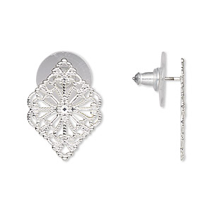 earring, silver-plated brass and stainless steel, 21x15mm filigree diamond. sold per pair.