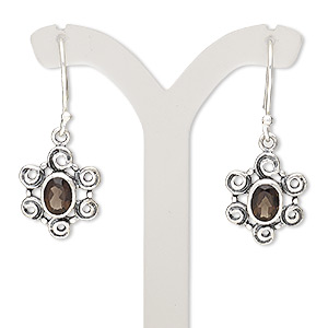 earring, smoky quartz (heated / irradiated) and sterling silver, 36mm with fancy oval and fishhook earwire. sold per pair.