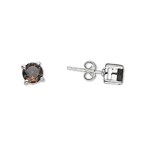 earring, smoky quartz (heated / irradiated) and sterling silver, 6mm with 6mm faceted round and post. sold per pair.