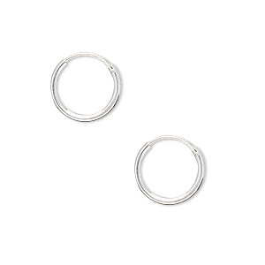 earring, sterling silver, 12mm round hoop with endless-loop closure. sold per pkg of 4 pairs.