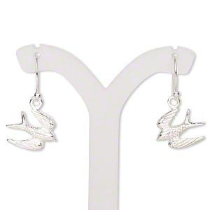 earring, sterling silver, 14x11.5mm single-sided textured flying bird with fishhook earwire, 24x14mm overall. sold per pair.
