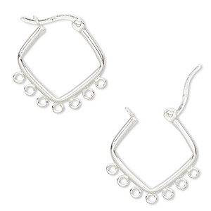 earring, sterling silver, 20mm diamond hoop with 7 closed loops and latch-back closure. sold per pair.