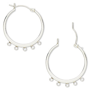 earring, sterling silver, 23mm flat round hoop with 5 closed loops and latch-back closure. sold per pair.