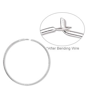 earring, sterling silver, 25mm round hoop. sold per pkg of 5 pairs.