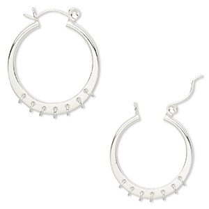 earring, sterling silver, 25mm round hoop with 7 closed loops and latch-back closure. sold per pair.
