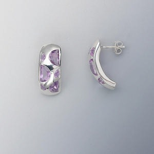 earring, sterling silver and amethyst (natural), 7x5mm faceted half round, 3mm round, 24x10mm curve. sold per pair.