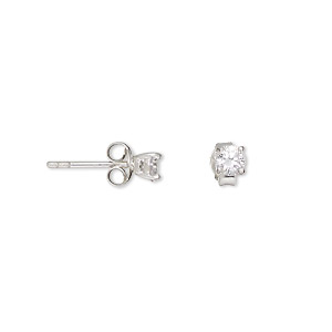 earring, sterling silver and cubic zirconia, clear, 4mm faceted round with post. sold per pair.