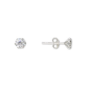 earring, sterling silver and cubic zirconia, clear, 5mm round with post. sold per pair.