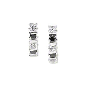 earring, sterling silver and cubic zirconia, clear and black, 19mm with faceted round and post. sold per pair.