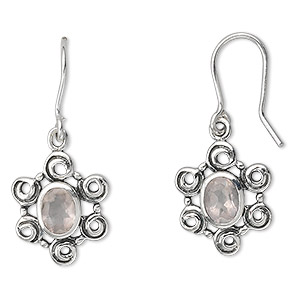 earring, sterling silver and rose quartz (natural),7x5mm faceted oval, 32x9mm. sold per pair.