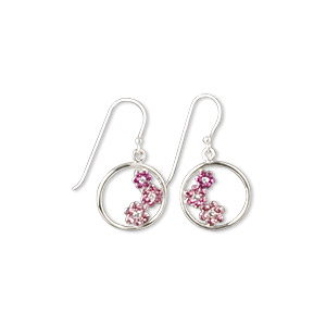 earring, swarovski crystals and sterling silver, pink, 25mm with 16mm round and flower design with fishhook earwire. sold per pair.