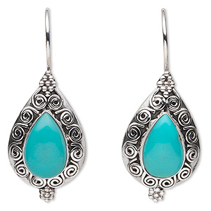 earring, turquoise (stabilized) and sterling silver, 40mm with filigree design and 14x9mm teardrop with fishhook earwire. sold per pair.