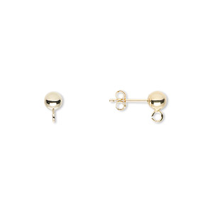 earstud, 14kt gold, 4mm ball post with split loop. sold per pair.