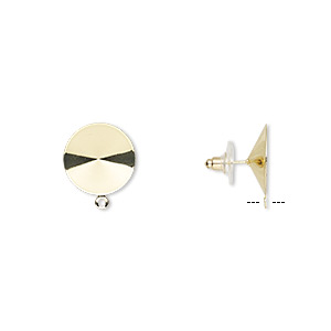 earstud, almost instant jewelry, plastic with gold-finished brass and steel, 18.5mm round with closed loop and 18mm rivoli setting. sold per pkg of 5 pairs.