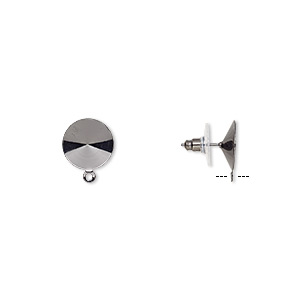 earstud, almost instant jewelry, plastic with gunmetal-finished brass and steel, 14.5mm round with closed loop and 14mm rivoli setting. sold per pkg of 5 pairs.