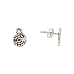 earstud, antiqued sterling silver, 9x9mm spiral with closed loop. sold per pair.