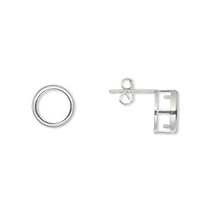 earstud, bezelite, sterling silver, 8mm 4-prong round setting. sold per pair.