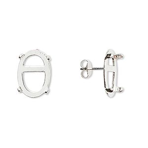 earstud, cab-tite™, sterling silver, 14x10mm 4-prong oval setting. sold per pair.