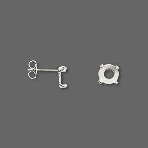 earstud, cab-tite™, sterling silver, 6mm 4-prong round setting. sold per pair.