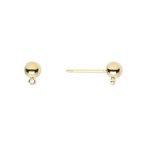 earstud, gold-finished brass and stainless steel, 5mm ball with closed loop. sold per pkg of 50 pairs.