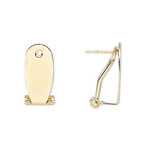 earstud, gold-finished steel, 19x8.5mm flat oval with self-closing clip. sold per pkg of 2 pairs.