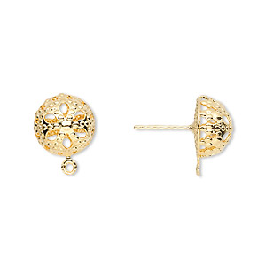 earstud, gold-plated brass and stainless steel, 10mm filigree dome with closed loop. sold per pkg of 50 pairs.