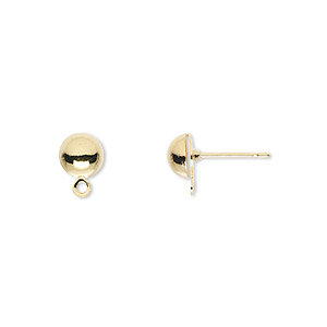 earstud, gold-plated brass and stainless steel, 6mm half ball with closed loop. sold per pkg of 50 pairs.