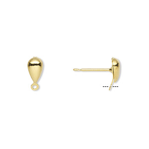 earstud, gold-plated brass and stainless steel, 7x4mm hollow fancy teardrop with closed loop. sold per pkg of 50 pairs.